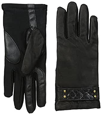 Isotoner Women's Smartouch Stretch Leather Glove with Studded Belt Fleece Lined, Black, Medium/Large