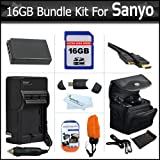16GB Bundle Kit For Sanyo VPC-WH1 High Definition Waterproof Camcorder Includes 16GB High Speed SD Memory Card + Extended (1850Mah) Replacement Sanyo DB-L50AU Battery + AC/DC Charger + Mini HDMI Cable + Float Strap + Case + USB 2.0 SD Card Reader + More