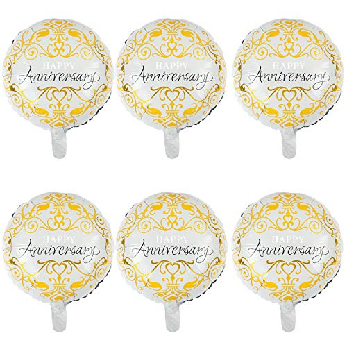 6 Pcs Anniversary Mylar Balloons Round Foil Helium Balloon Happy Birthday Party Decorations Supplies 18 Inch