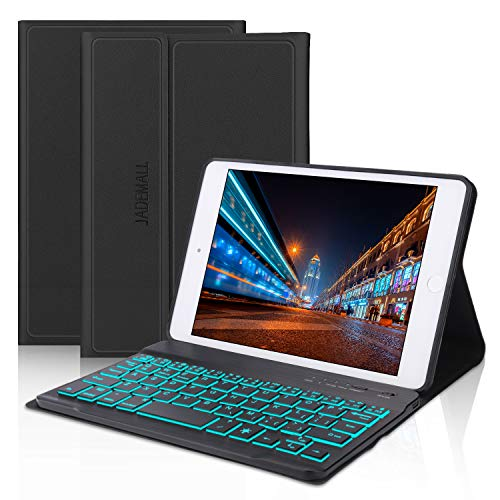 iPad Mini Keyboard Case Compatible iPad Mini 5 (5th Gen 2019) - iPad Mini 4 - iPad Mini 3 - iPad Mini 2 & 1 - Folio Leather Protective Cover, 7 Color Backlit Wireless Bluetooth Keyboard, Black