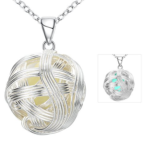The November Nocturne Creative Hollow Knit Style Round Ball Shape Pendant Light Cyan Silver Necklace