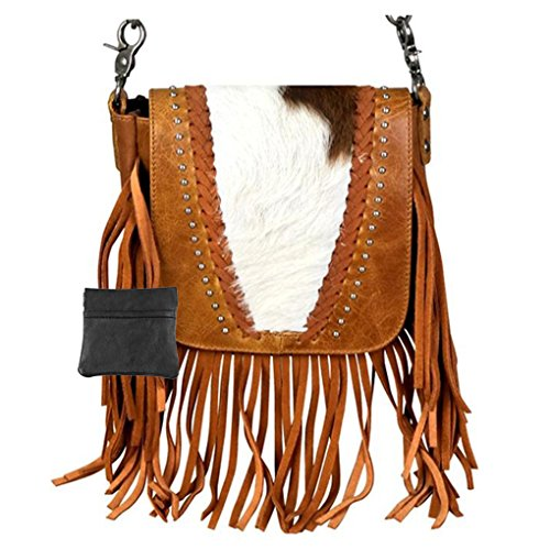 Handcrafted Leather 4 in 1 Bundle Clutch Crossbody Biker Bag w Fringe & Coin Key Fob (Brown with Studded & Hair)