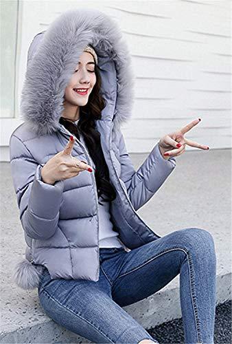 Retro Abrigo Acolchado Acolchada De Chaqueta Mujer Espesar Caliente Con Capucha Grau Slim Larga Unicolor Piel Outerwear Imitación Manga Invierno Fit fx6x80