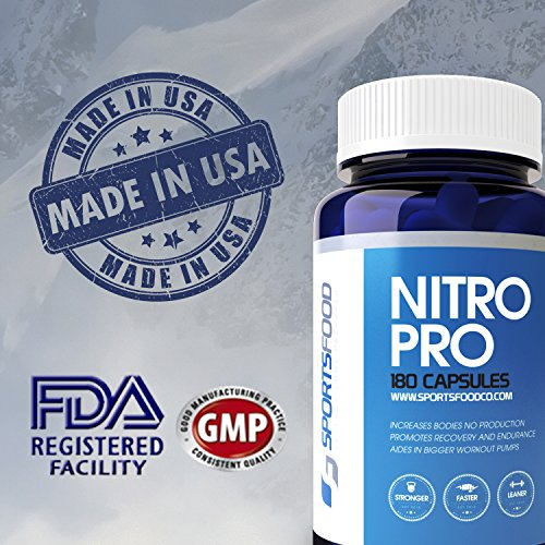 Nitro Pro 510mg x 180 Capsules, Optimized 5 Ingredient Blend for High NO And Vascularity, 45 Day Supply