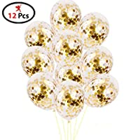 Party Propz Balloons with Golden Colored Pre-Filled Confetti (Set of 12)- Confetti Balloons Decorations / Confetti Balloons for Boys / Confetti Balloons for Parties / Gold Confetti Balloons