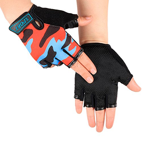 Cycling Gloves for Kids Boy Girl Biking Gloves Half Finger Fingerless Training Outdoor Gym Riding Gloves Shockproof Foam Padded Child Bike Bicycle Gloves Mitten for MTB Skate Fitness Workout Gloves