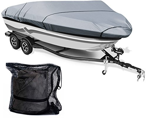 Leader Accessories 300D Polyester 5 Colors Waterproof Trailerable Runabout Boat Cover Fit V-hull Tri-hull Fishing Ski Pro-style Bass Boats, Full Size (14'-16'L Beam width up to 68'', ()