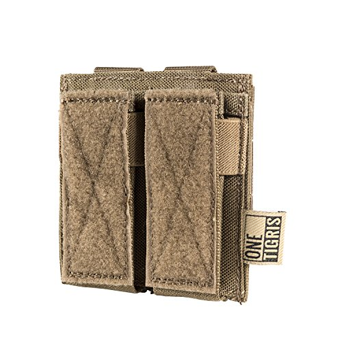 OneTigris Single/Double/Triple Pistol Mag Pouch with Front Loop Panel for Glock M1911 92F Magazines 40mm Grenade (Double-Stack, Coyote - Tip Rubber Bullet Grip