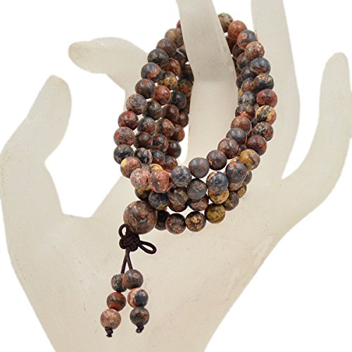 AD Beads Natural Gemstones Buddhist 108 Prayer Healing Beads Mala Stretchy Bracelet Necklace 6mm (Leopard Fur Jasper) ()