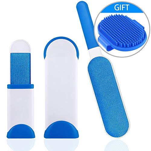Price comparison product image WUXIAN Pet Fur and Lint Remover Pet Hair Remover with Self-Cleaning Base Double-Sided Brush Removing Dog Cat Hair From Clothing