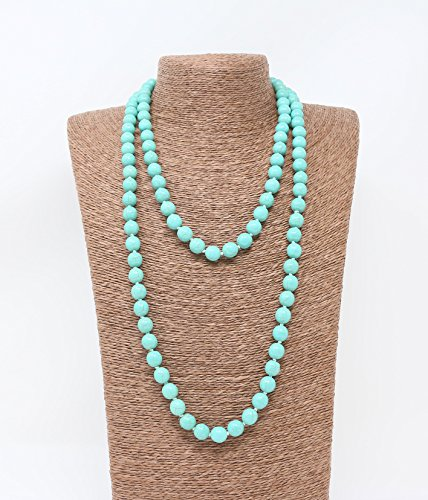 Beads Source Knotted Necklace 52 inches Round Turquoise Handmade Jewelry. (Green) -