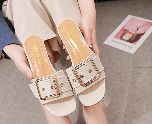 Slippers Beige Shoes Womens Block ToeMules Heel Sandals Slide Open CwXqTX8
