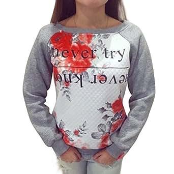 Vktech® Womens Casual Sweater Print Loose Pullover Sweatshirt Hoodies Tops Trendy (US4-6)