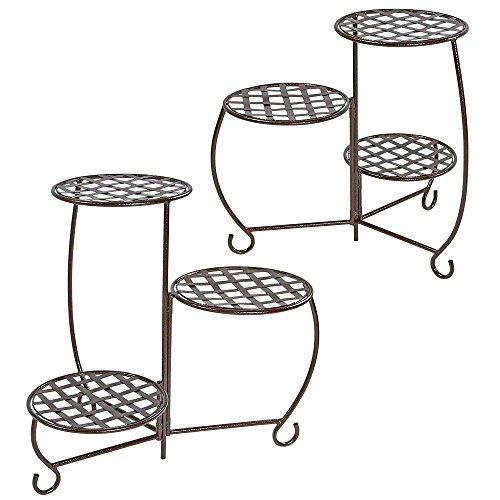 Planter Bench Set (Sunnydaze Plant/Flower Stand, Indoor or Outdoor, Checkered Triple Potted, Set of 2, Bronze)