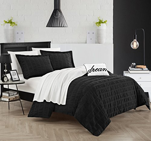 Chic Home 4 Piece Millbury Duvet Cover Set, Queen, Black