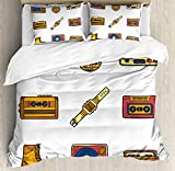 90s Twin Duvet Cover Sets 4 Piece Bedding Set Bedspread with 2 Pillow Sham, Flat Sheet for Adult/Kids/Teens, Cartoon Illustration with Old Fashioned Technology Lifestyle Theme Nostalgic Artwork