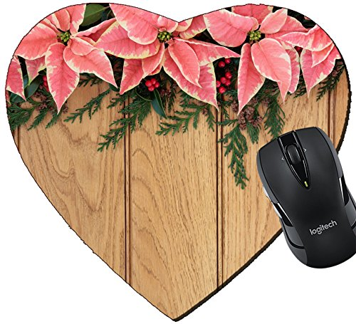 MSD Mousepad Heart Shaped Mouse Pads/Mat design: 30645473 Pink poinsettia flower background border with holly and christmas greenery over oak wood