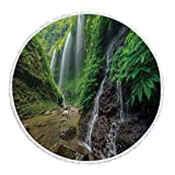 iPrint Thick Round Beach Towel Blanket,Waterfall Decor,Waterfalls side Valley in Indonesia with Asian Bushes above the Hills,Green and Brown,Multi-Purpose Beach Throw