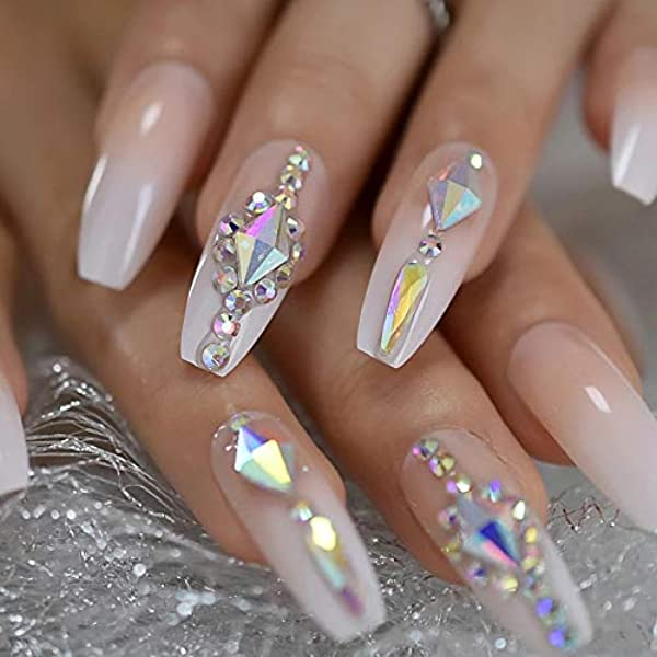 Amazon Com Eda Luxury Beauty Natural Nude Pink Ombre White French Glamorous 3d Jewel Design Full Cover Press On Gel Glitter Acrylic Extreme False Nails Extra Long Ballerina Coffin Square Super Fashion