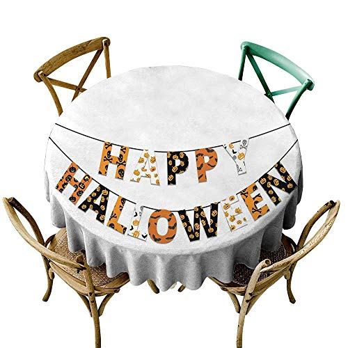 White Round Tablecloth Halloween,Happy Halloween Banner Greetings Pumpkins Skull Cross Bones Bats Pennant,Orange Black White D50,for Accent -