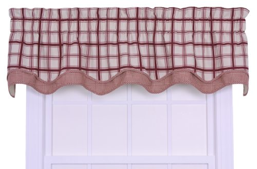 - Logan Large Scale Plaid Bradford Valence Window Curtain, Red