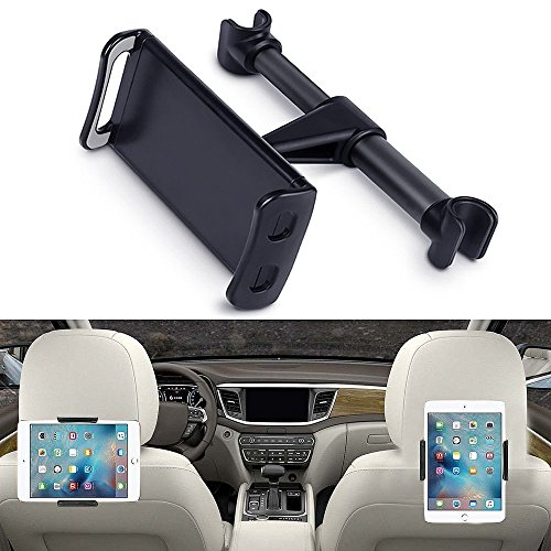 "Price comparison product image Eschone 360 Degree Rotatable Adjustable Car Seat Cradle Holder for iPad Pro 10.5/9.7/Air/Mini, iPhone X/8/7 Plus/6s, Galaxy Note 8/S8+/S8 (Fit 4-11"" Devices) - Black"