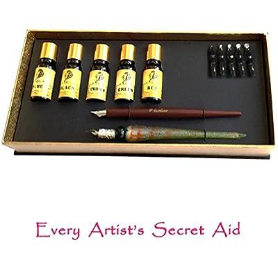 Daveliou Calligraphy Pen Set - 12-Piece Kit - FREE Glass Pen - 5 Nib & 5 Ink Set