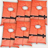 Hardcore Water Sports 6 Pack Type II Orange Life Jacket Vest - Adult Universal Boating PFD by