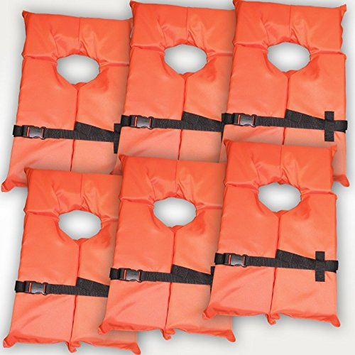 Hardcore Water Sports 6 Pack Type II Orange Life Jacket Vest - Adult Universal Boating PFD by by Hardcore Water Sports