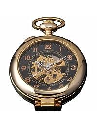 AMPM24 Unique Golden Magnifier Skeleton Mechanical Mens Pocket Watch Chain Gift WPK022