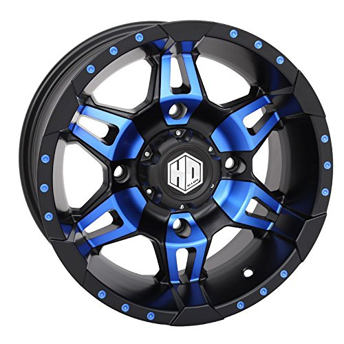 Bundle - 9 Items: STI HD7 14'' Wheels Blue/Black 30'' MotoVator Tires [4x110 Bolt Pattern 12mmx1.25 Lug Kit] by Powersports Bundle (Image #2)