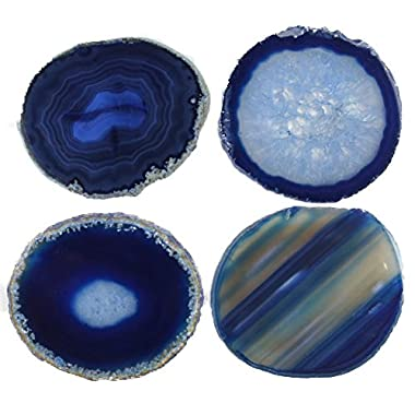 JIC Gem: Set of 4 Blue Dyed Brazilian Agate Coasters with Rubber Bumpers 3.5 -4