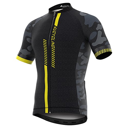 4ucycling Men's Short Sleeve Cycling Jersey Full Zip Moisture