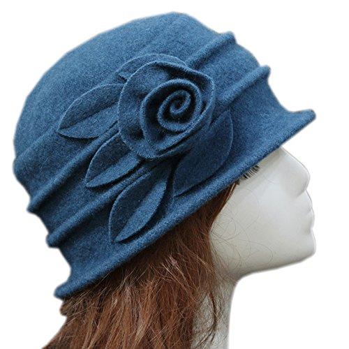 MACCHIASHINE Women's Winter Beanie Warm Wool Cloche Bucket Hat With Flower