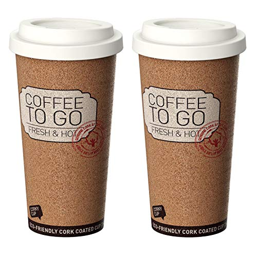 Reusable Insulated Corky Coffee To Go Mugs for Travel and Work - 16 Ounces ANTI-BACTERIAL & ANTI-SLIP Coffee / Tea Mugs (Set of 2)