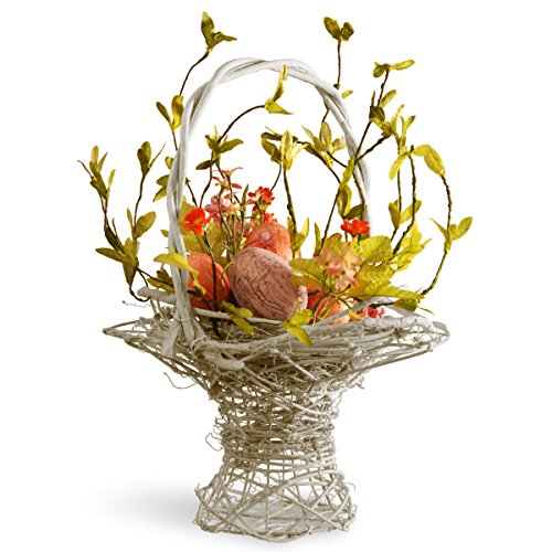 National Tree 14 Inch Weaved Wood Basket with Mixed Flowers and Pastel Easter Eggs (RAE-BC030106-1) (Easter Tree)