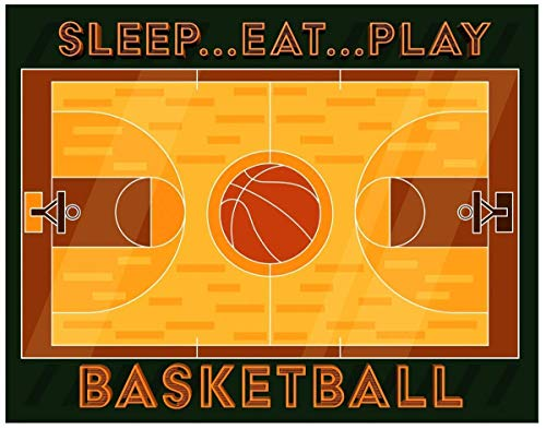 Basketball - Funny and Motivating Art Print - Sleep Eat Play Basketball - 11x14 Unframed Wall Art Poster- Decor Gift for a Sports fan's Bedroom, Game Room, Locker Room, Locker -