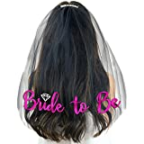 Pink Diamond Bride To Be Black Veil - Bachelorette Accessories and Supplies for the Bride