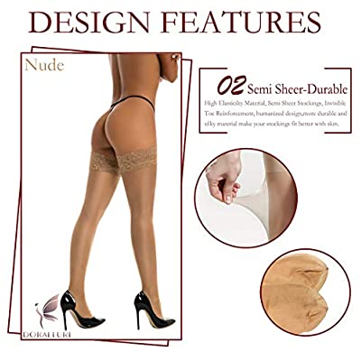 Thigh High Stockings Silicone Lace Top Stay Up Silky Semi Sheer Pantyhose for Women Hold Up Nylon DORALLURE at Women's Clothing store