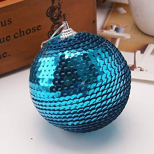 Christmas Ball Glitter Baubles Ornaments Rhinestone Xmas Tree Decoration 8CM (1PCS, E) (Teal Christmas Baubles)