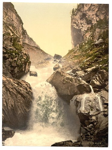 11 x 8 Antique Photochrome Image of: c. 1890 - 1906 Kander fall, at Klus, Bernese Oberland, Switzerland Professionally Reprinted c155