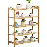 Five-story wooden balcony living room interior bamboo bamboo flower pot shelf floor flower shelves (93 90cm)