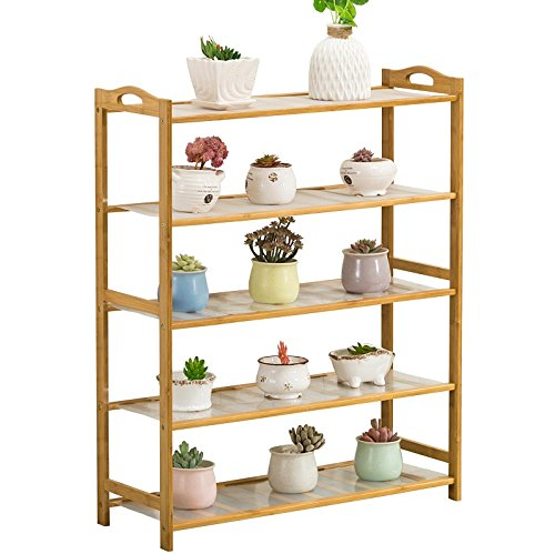 Five-story wooden balcony living room interior bamboo bamboo flower pot shelf floor flower shelves (93 90cm) by Flower racks