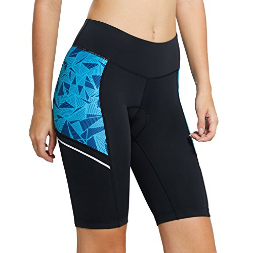 Price comparison product image Baleaf Women's Cycling Padded Shorts UPF 50+ Blue Geometry XXL