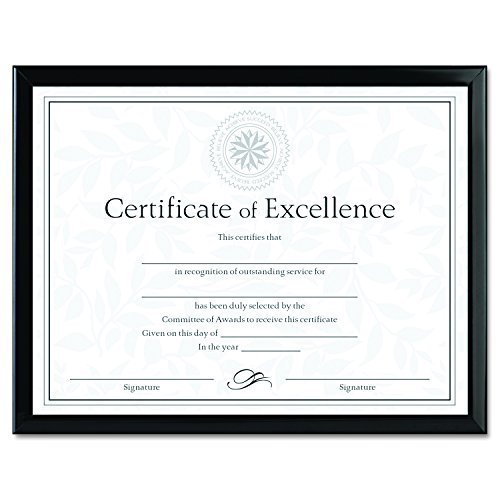 Award Plastic Certificate Frame - DAX Value U-Channel Document Frame with Certificates, 8.5 x 11 Inches, Black (N17000N)