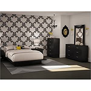 Full queen black wood platform bed 5 piece for Bedroom furniture amazon
