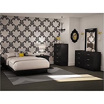 Full Queen Black Wood Platform Bed 5 Piece Bedroom Set