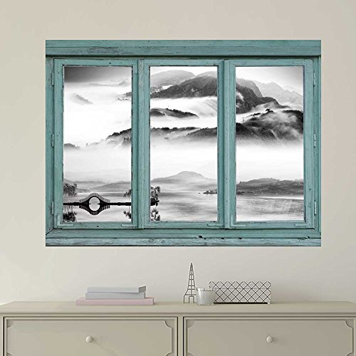 wall26 Vintage Teal Window Looking Out Into a Black and White Lake with a Mountain View - Wall Mural, Removable Sticker, Home Decor - 24x32 inches