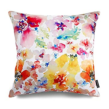 Phantoscope Watercolor Series Decorative Throw Pillow Case Cushion Cover MultiFlowers 18  X18
