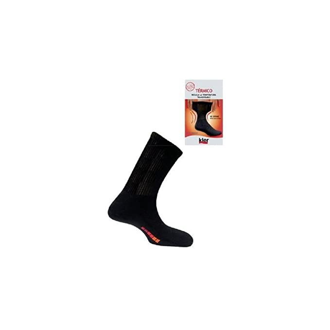 KLER 6080 - calcetin termico canale transpirable (UNICA, NEGRO)
